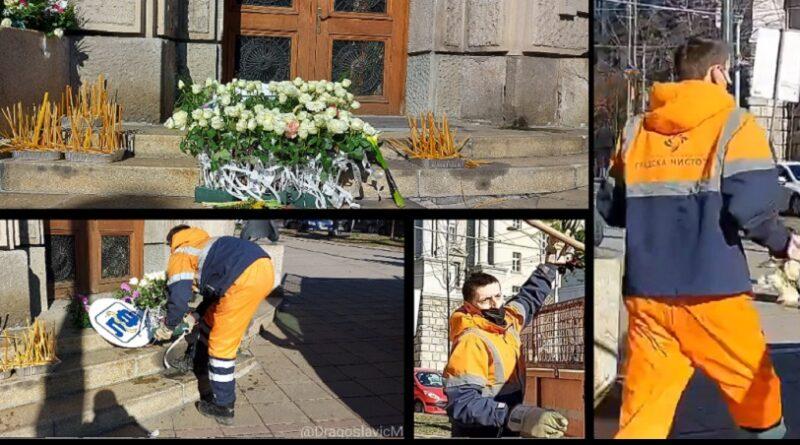 Beograd- radnici komunalnog uklanjaju cvijeće i svijeće za poginule medicinare
