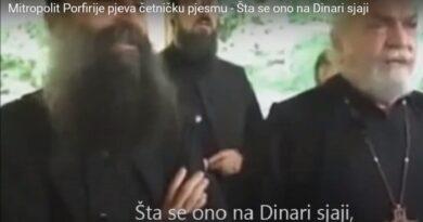 novi patrijarh Porfirije pjeva četničku pjesmu: Šta se ono na Dinari sjaji, Đujićeva kokarda na glavi