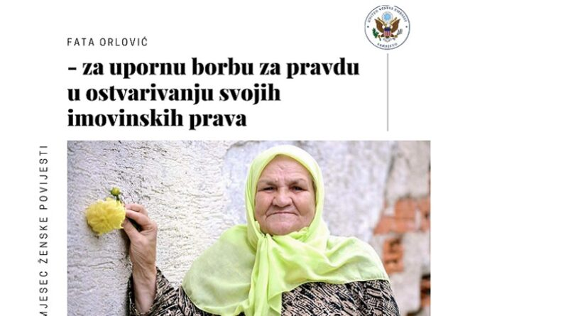 mbasada SAD-a dodijelila priznanje nani Fati Orlović