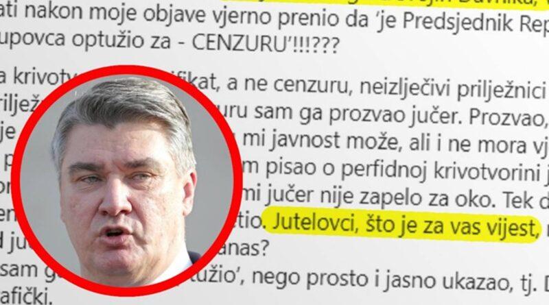 Hrvatski predsejdnik: Jutelovci, je li vijest nepoštenje jučer ili lopovluk danas?