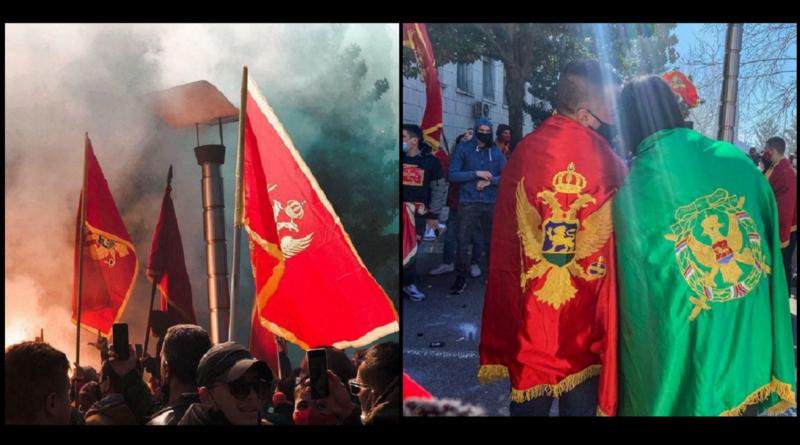 Protesti, Podgorica, posrbljavanje, vladino vozilo