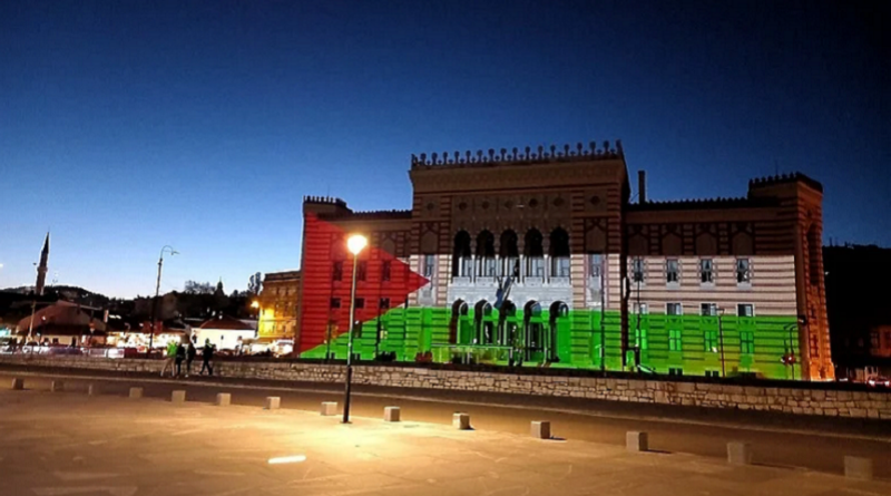Vijećnica, Sarajevo, boje, palestinske zastave