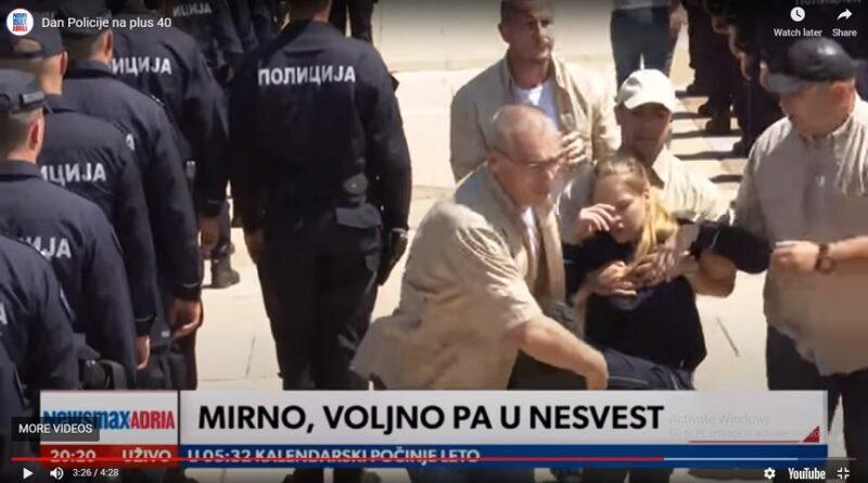 Vučić, govor, policija-pada u nesvijest