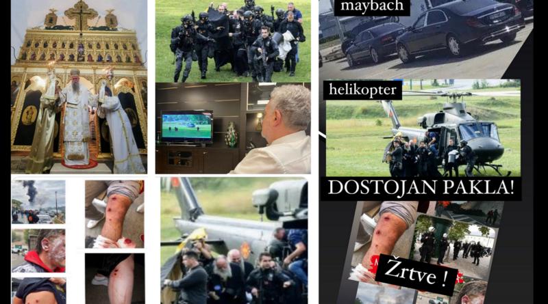 Cetinje, desant, Joanikije-ustoličen, protesti, neredi, Dostojan