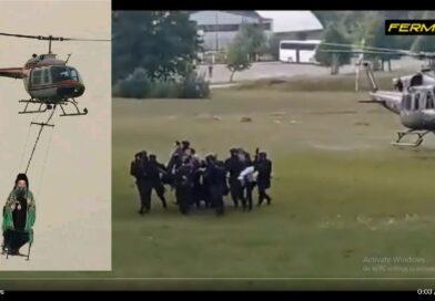 Joanikije, ustoličen, NATO-helikopter
